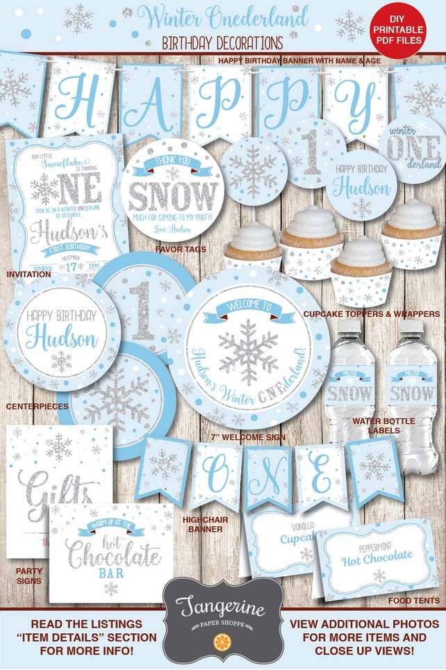Winter ONEderland Decorations Boy Blue Silver Snowflake Birthday First Printable PDF Files Personalized