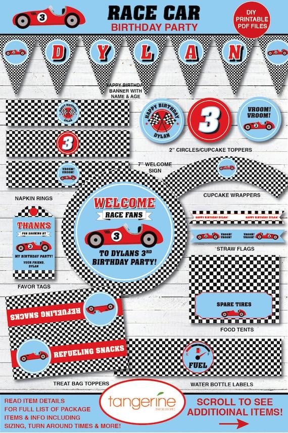 Race Car Birthday Decorations Package Boy DIY Printables