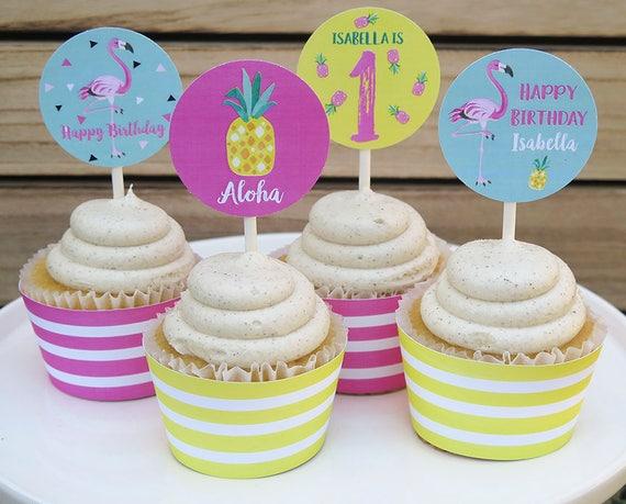 Flamingo Pineapple Cupcake Toppers Luau Printable Pdf File