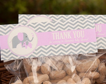 Elephant Baby Shower Treat Toppers - Girl Baby Shower - Elephant Baby Shower Favor Toppers - PERSONALIZED- Printable PDF File