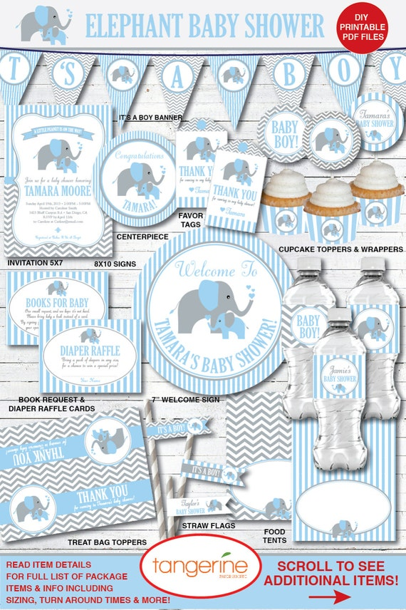 graphic about Printable Pdf Files called Elephant Boy or girl Shower Decorations, Kid Boy Shower