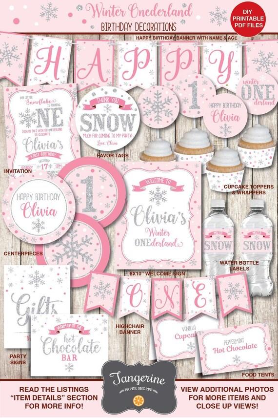 picture about Printable Birthday Decorations identify Winter season ONEderland Decorations Woman, Winter season Wonderland