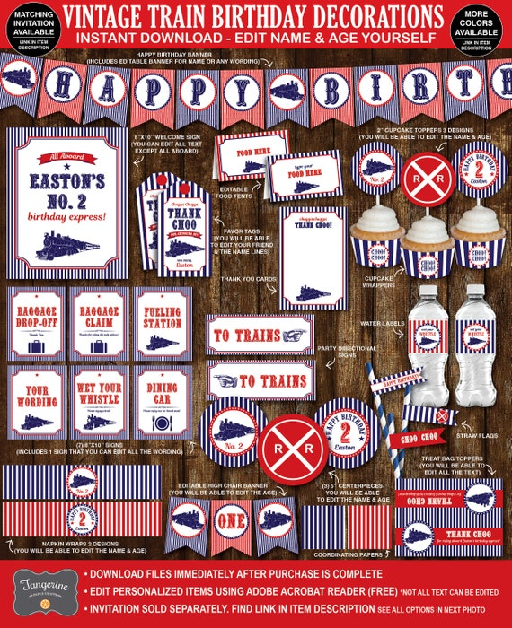 Train Birthday Party Decorations Vintage Printable Navy Blue Red White INSTANT DOWNLOAD
