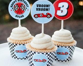 Race Car Birthday Cupcake Toppers - Race Car Birthday Decorations - Car Birthday - Digital PDF File