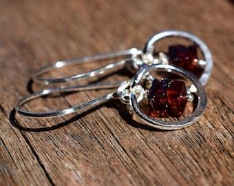 Red Garnet Earrings, Sterling Silver Circle Earrings, Stacked Gemstone Earrings, January Birthstone, Geometric, Garnet Squares, Brick Red