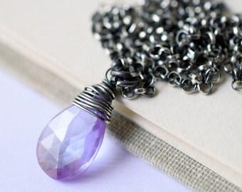 Light Purple Gemstone Necklace, Oxidized Silver Necklace, Violet Zircon Necklace, Natural Zircon Necklace, Lilac Necklace, Lavender, Violet