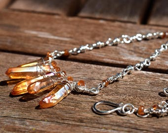 Artisan Chain Necklace, Hessonite Garnet Necklace, Sterling Silver Handmade Chain, Orange Quartz Point Necklace, Boho Statement Necklace