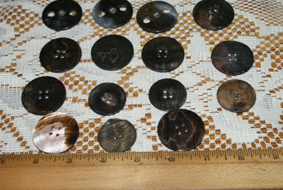 14 matching Vintage lot smoky gray mother of pearl buttons self shank 5//8/""