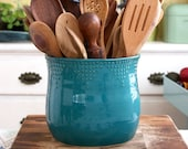 Extra Large Kitchen Utensil Holder - 16 Colors - Green, Blue, White, Red - Hand Thrown Vase - Modern Home Decor - MADE TO ORDER