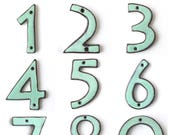 """House Numbers - Mid Century Modern - Ultra Modern - 4"""" 5"""" 6"""" inch - Rustic Aqua Mist - Handmade Ceramic - Pottery Letters - MADE TO ORDER"""