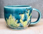 Mishima Cactus Garden Mug - Hand Thrown - Deep Sea Blue - Latte Cappuccino Mug - Handmade Modern Gift - READY TO SHIP