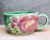 Lavender Peony Flower Mug - Emerald Green - Hand Thrown - Cappuccino Latte Cup - Mishima Technique - Handmade Modern Gift - READY TO SHIP