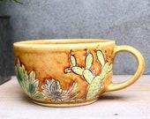 Cactus Garden Mishima Mug - Hand Thrown - Spicy Mustard - Latte Cappuccino Mug - Handmade Modern Gift - READY TO SHIP