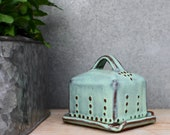 Baby / Mini Butter Dish with Lid - Rustic Aqua Mist - French Country Home Decor - READY TO SHIP