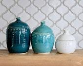 Lidded Jar Set of 3 - Ceramic Canisters 10, 20 & 30 oz. - 16 Color Choices - Handmade Modern Lidded Jar - MADE TO ORDER