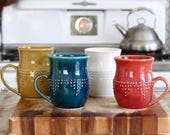 Extra Large Stoneware Mug - Geometric Dot Design - Hand Thrown 16 oz. - 16 Color Choices - Handmade Modern Dinnerware - MADE TO ORDER