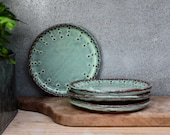 Dessert Plate - Bread Plate - Aqua Mist, Creamy White, Dark Teal - Handmade Stoneware - French Country Dinnerware - MADE TO ORDER