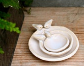 Nesting Bowl Bird Dishes - Creamy White - Ring Dish Jewelry Holder - Four Bird Family - French Country Home Decor - READY TO SHIP