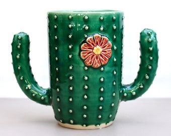 Cactus Mug - Succulent Cup - Coffee Tea Cup - As Seen on Etsy Commercial & Guess That Gift - Handmade Ceramic Pottery - READY TO SHIP