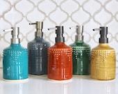 Soap Bottle Dispenser Ceramic - Lotion or Dish Soap Pump - Burnt Orange - Modern Kitchen Home Decor - Hand Thrown OOAK - MADE to ORDER