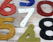 Organic House Numbers - Set of 4 - Choose Your Color - Nautical Royal Blue Rustic Red Olive Green Moss Mustard - Curb Appeal - Made to Order