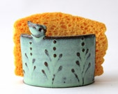 Sponge Holder with Bird - Aqua Turquoise Mist - French Country Home Decor - MADE TO ORDER