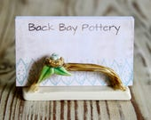 Bird Nest Business Card Holder - Office Decoration - Nest on a Twig Branch - Green Leaves French Cream - MADE TO ORDER
