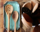 Large Spoon Rest - Jewelry Tray - Soap Dish - Rustic Handmade Pottery - Aqua Mist French Country Dinnerware - MADE TO ORDER