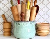 Jumbo Utensil Holder - Aqua Mist - Crock - Flower Pot - Kitchen Decor - Hand Thrown Vase - Modern Home Decor - MADE TO ORDER