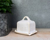 Mini / Baby Butter Dish with Lid - Creamy White - Covered with Handle - Handmade Pottery - READY TO SHIP