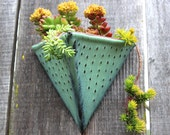 Triangle Wall Planter - Geometric Pot with Dots Design - Medium Wall Pocket - Modern Home Decor - Aqua Mist - MADE TO ORDER