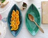 Teardrop Leaf Platter - Geometric Dot Design - 16 Color Choices - Green Blue Yellow White - Modern Home Decor - MADE TO ORDER