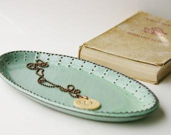 Oval Platter - Ceramic Serving Tray - Aqua Mist - Modern Home Decor - MADE TO ORDER