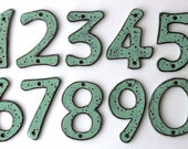 Outdoor House Numbers - SET of 4 - Organic Style - Aqua Mist Color - Ceramic Letters - 4 inch, 5 inch or 6 inch Size - MADE to ORDER