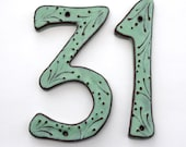 Large Address Numbers - Outdoor Custom House Numbers Letters - Set of 2 - Organic Style - 8 inch 7 inch Size - Aqua Mist - MADE TO ORDER