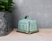Baby / Mini Butter Dish with Lid - Rustic Aqua Mist - French Country Home Decor - MADE TO ORDER