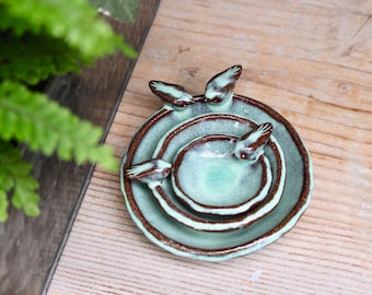 Nesting Bowl Bird Dishes - Rustic Ring Dish Jewelry Holder - Four Bird Family - French Country Home Decor - READY TO SHIP