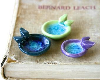 Tiny Garden Love Birds Bath - Miniature Terrarium Accessories - Purple Orchid - Crackle Water Aqua Glass - Ready to Ship
