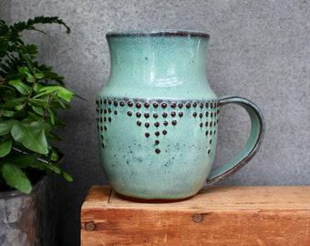 Extra Large Stoneware Mug - 18 - 20 oz. Geometric Dot Design - Ceramic Coffee Cup - Aqua Mist - MADE TO ORDER