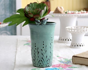 Ceramic Vase with Little Love Birds - Rustic Modern Farmhouse Decor - MADE TO ORDER