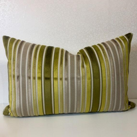 Chartreuse stripe pillow cover Chenille