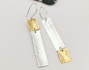 Silver and brass rectangle earrings - asymmetrical rectangular earrings