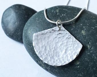Large hammered silver fan necklace / Hammered silver ginkgo leaf pendant
