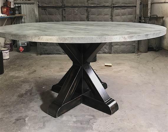 X Base Round Zinc Dining Table Etsy
