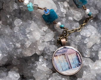 Blue Mine Window Photo Necklace