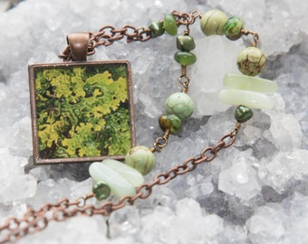 Leafy Green Hornwort Photo Pendant with Turquoise, Jade Pearls and Glass Beads