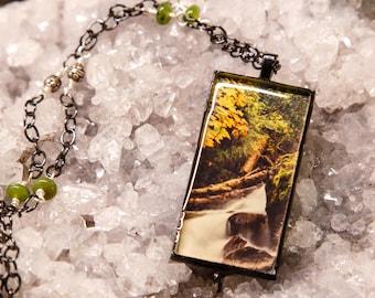Autumn Waterfall Photo Pendant Beaded Necklace
