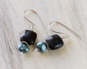 Black square stone with teal freshwater pearl earrings