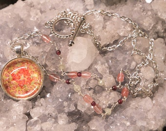 Pink and Green Abstract Starfish Pendant with Cherry Quartz, Garnets and Phrenite