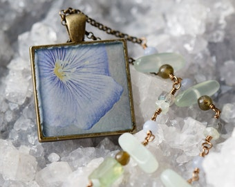 Wild Blue Flax Flower Pendant Necklace with Blue and Green Beads